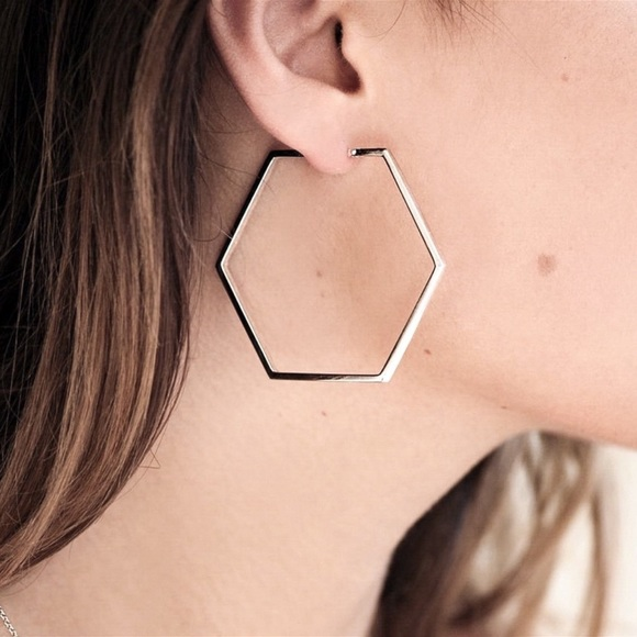 GlitzBlitz Boutique Jewelry - 2/$20!  Silver Beveled Edge Hexagon Hoop Earrings